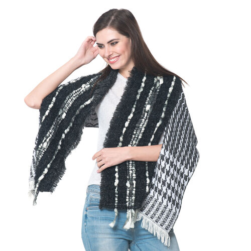 Black and White Colour Winter Scarf with Fringes (Size 175x45 Cm)