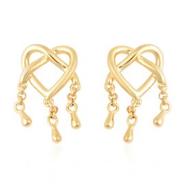 LucyQ Entwined Heart Three Drip Earrings (with Push Back) in Yellow Gold Overlay Sterling Silver