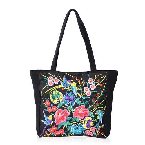Shanghai Collection Multi Colour Flower and Bird Pattern Tote Bag (Size 43x34x33.5x10 Cm)