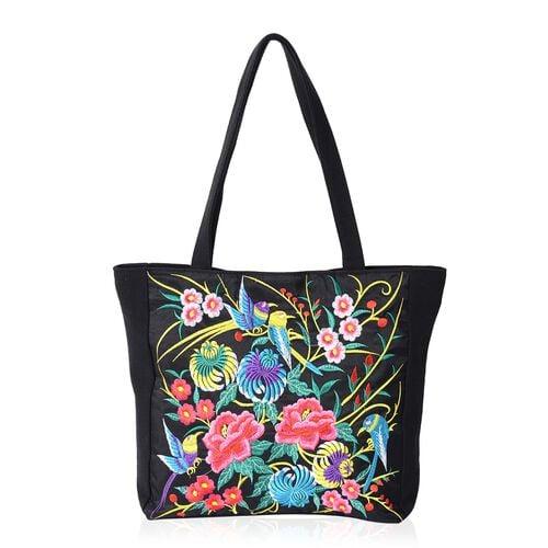 Multi Colour Flower and Bird Pattern Tote Bag (Size 43x34x33.5x10 Cm) - Colour Black