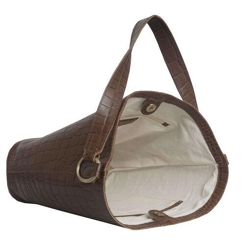 Assots London AMELIA Croc Leather Bucket Bag (35X13X34cm) - Tan