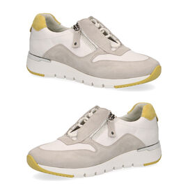 Caprice Leather Lace-up Trainers - White and Grey