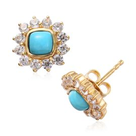 Arizona Sleeping Beauty Turquoise (Cush), Natural Cambodian Zircon Stud Earrings (with Push Back) in