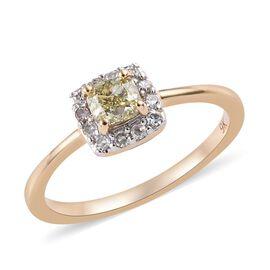 9K Yellow Gold Yellow Diamond (Cush), Diamond Ring 0.500 Ct.