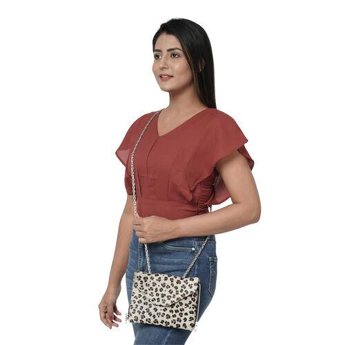 100% Genuine Leather 3-in-1 Leopard Pattern Handbag (30x26x8cm) with Detachable Clutch (21x16cm) with Adjustable Shoulder Strap - Black