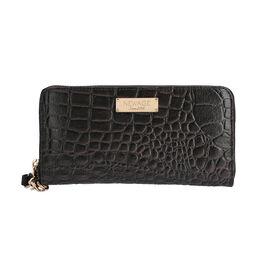 100% Genuine Leather RFID Protected Croc Embossed Wallet (Size 20.4x3x11.7 Cm) - Dark Brown