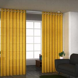 Set of 2 - Cotton Textured Slub Curtain with Eyelets (Size 140x228cm) - Mustard
