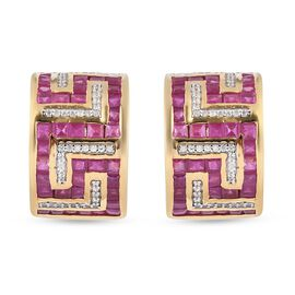 African Ruby (FF) & Natural Cambodian Zircon Earrings (with French Clasp) in 14K Gold Overlay Sterli