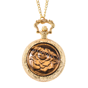 GENOA Japanese Movement Water Resistant Rose Carved Tiger Eye Pocket Watch with Chain (Size 31) in G