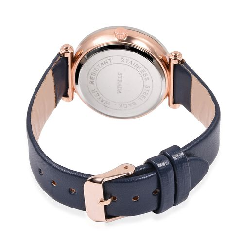 STRADA Japanese Movement Water Resistant Watch in Rose Gold Tone with Navy Blue Colour Strap.