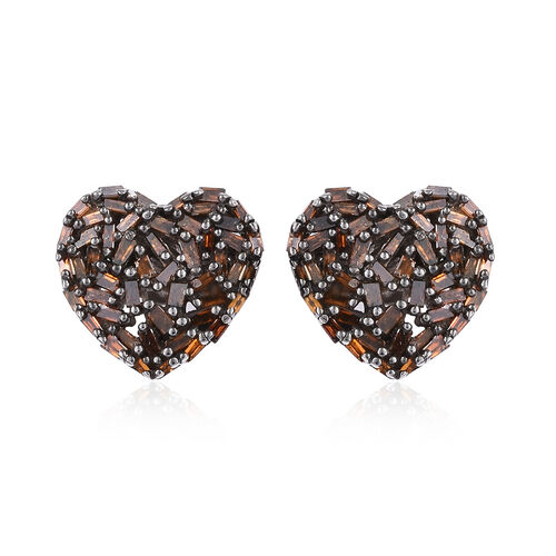 GP Red Diamond (Bgt), Kanchanaburi Blue Sapphire Heart Stud Earrings (with Push Back) in Black Rhodi