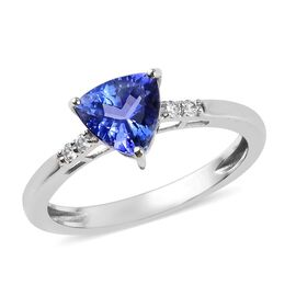 9K White Gold AA Tanzanite (Trl), Natural Cambodian Zircon Ring 1.23 Ct.