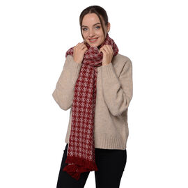 Close Out Deal LA MAREY Super Soft 100% Wool Shawl in Burgundy Houndstooth Border Pattern with Tassels (200x70+5cm)