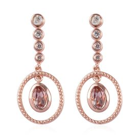 1.25 Ct Marropino Morganite and Zircon Dangle Earrings in Rose Gold Plated Sterling Silver