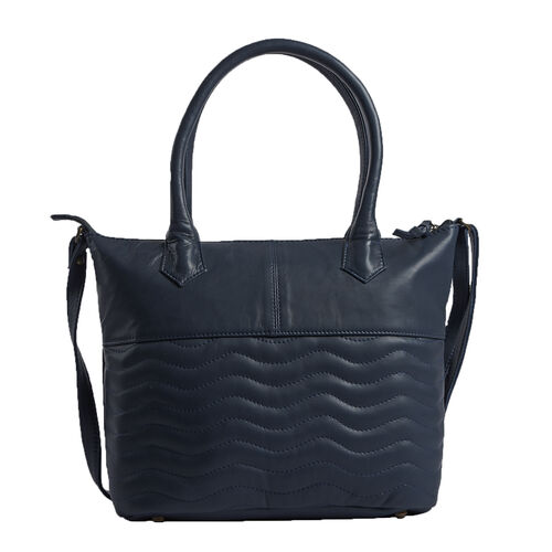 Premium Collection 100% Genuine Leather Navy Blue Colour RFID Blocker Tote Bag (Size 40x29x8 Cm)