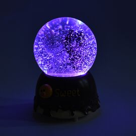 Home Decor - Bear and Cat Friends Snow Musical Crystal Globe with Colour Changing LED (Size 10x10x15