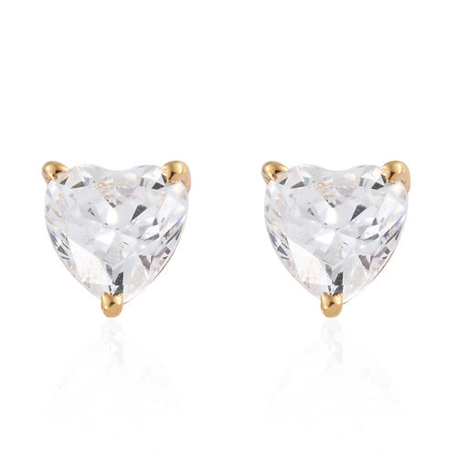 J Francis - 14K Gold Overlay Sterling Silver (Hrt) Stud Earrings (with Push Back) Made with SWAROVSK