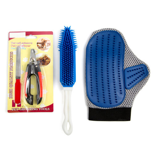 Pet Accessories - 3 Piece Set - Blue Colour Pet Glove, Pet Hair Cleaner with Red and Black Colour Scissors and Pet Nail File.