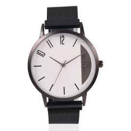 STRADA Japanese Movement Water Resistant Watch with Black Mesh Chain Strap