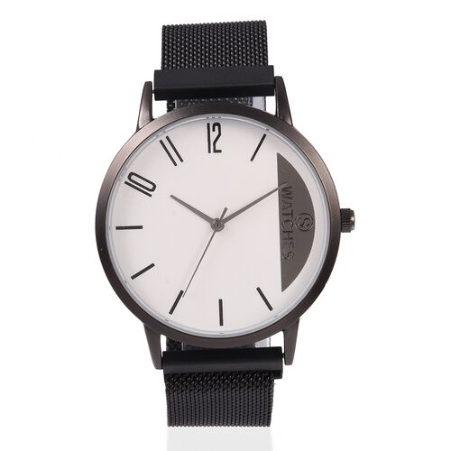 STRADA Japanese Movement Water Resistant Watch with Black Mesh Chain Adjustable Strap (Size: 6 to 9)