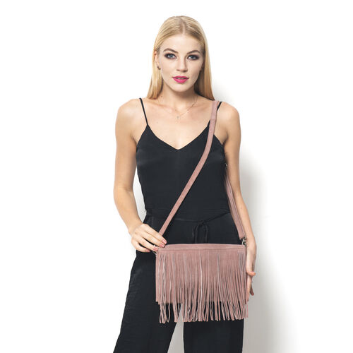 Genuine Leather Dusk Rose Colour Sling Bag with Fringes and Adjustable and Removable Shoulder Strap (Size 28x17x7 Cm)