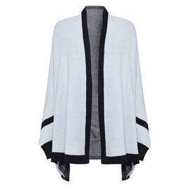 Kris Ana Coloured Border Cardigan One Size (8-20); L=70 Cm - Ice Blue and Navy
