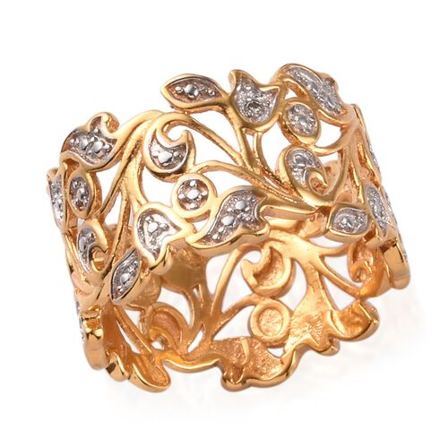 Diamond Leaf Ring in 14K Gold and Platinum Plated Silver