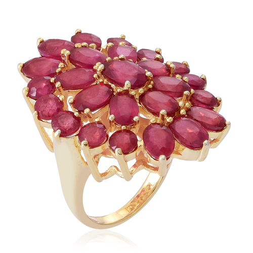 African Ruby (Ovl 1.12 Ct) Cluster Ring in Yellow Gold Overlay Sterling Silver 15.000 Ct.