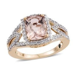 GP 2.40 Ct Marropino Morganite and Multi Gemstone Halo Ring in 9K Rose Gold 3.51 Grams