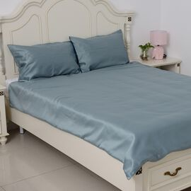 Set of 3 - Luxury Satin Woven Double Size Duvet Cover (Size 200x200 cm) with 2 Pilllow Cases (50x70 cm) in Mermaid Blue Colour