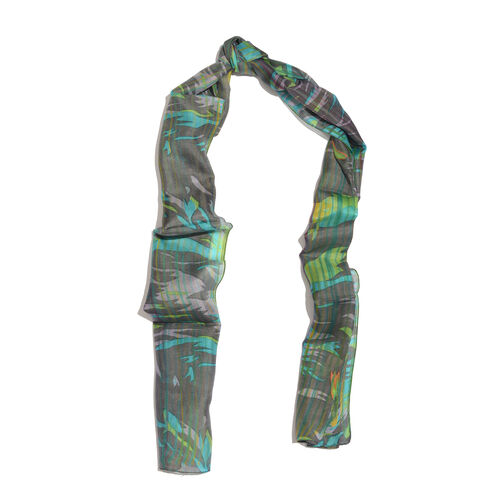 100% Mulberry Silk Sky Blue, Green and Multi Colour Handscreen Printed Black Colour Scarf (Size 180x50 Cm)