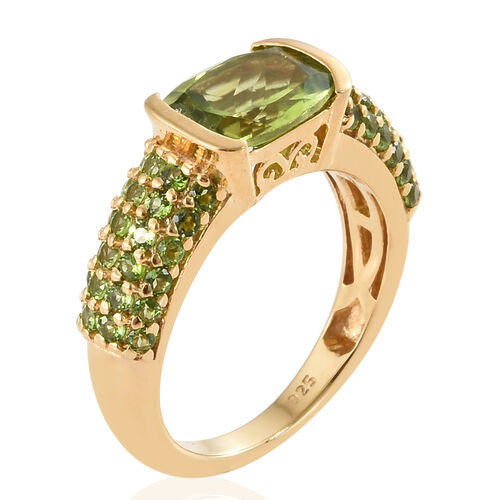 Hebei Peridot (Cush 2.15 Ct), Russian Diopside Ring in 14K Gold Overlay Sterling Silver 3.000 Ct.