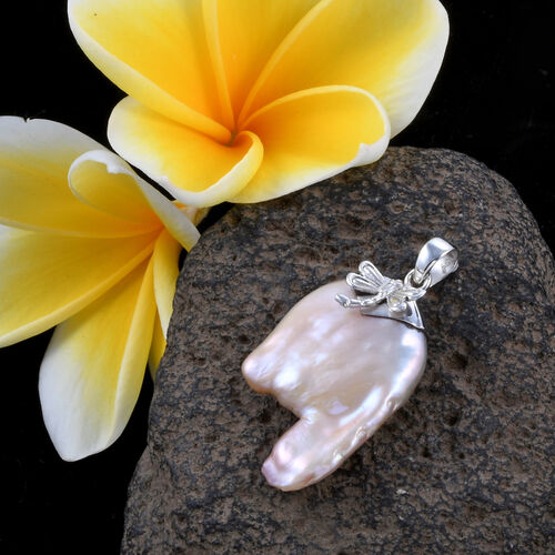 Organic Keshi Pearl Dragonfly Pendant in Sterling Silver