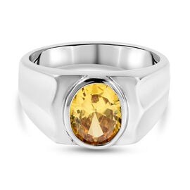 Simulated Yellow Sapphire Ring in Stainless Steel