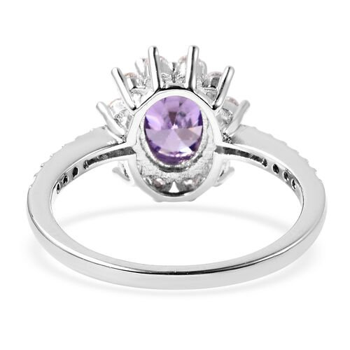 3 Piece Set - Simulated Amethyst and Simulated Diamond Sunburst Theme Ring, Stud Earrings (with Push Back) and Pendant with Chain (Size 20 with 2 inch Extender) in Silver Tone