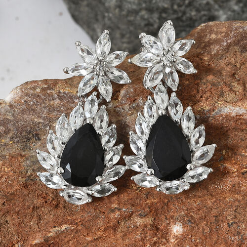 Black Tourmaline (Pear 6.25 Ct), White Topaz Earrings (with Push Back) in Platinum Overlay Sterling Silver 12.750 Ct.