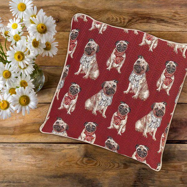 Signare Pug Pattern Cushion Cover  (45x45 cm)