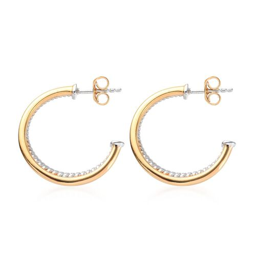Platinum and Yellow Gold Overlay Sterling Silver Hoop Earrings (with Push Back), Silver wt 5.00 Gms