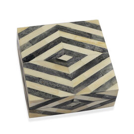 Chevron Pattern Handmade Bone and MDF Storage Box with Inside Velvet Lining (Size 15.5x15.5x6 Cm) -