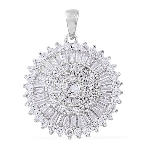 ELANZA AAA Simulated White Diamond (Rnd) Pendant in Rhodium Plated Sterling Silver, Silver wt 4.60 Gms.