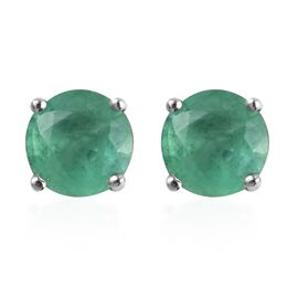 AA Kagem Zambian Emerald Stud Earrings (with Push Back) in Platinum Overlay Sterling Silver 1.00 Ct.