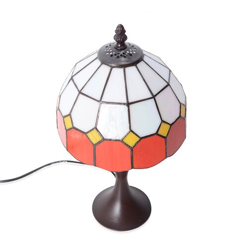 Home Decor - Tiffany Style Table Lamp with Handcrafted Stained Glass - Red and Ivory White with Mother of Pearl Plating Finish