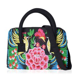 Shanghai Collection New Season Peacock Embroidered Tote Bag with Removable Shoulder Strap (Size 31x21.5x11 Cm)