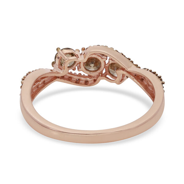 9K Rose Gold SGL Certified Champagne Diamond (I3) Ring 1.00 Ct.