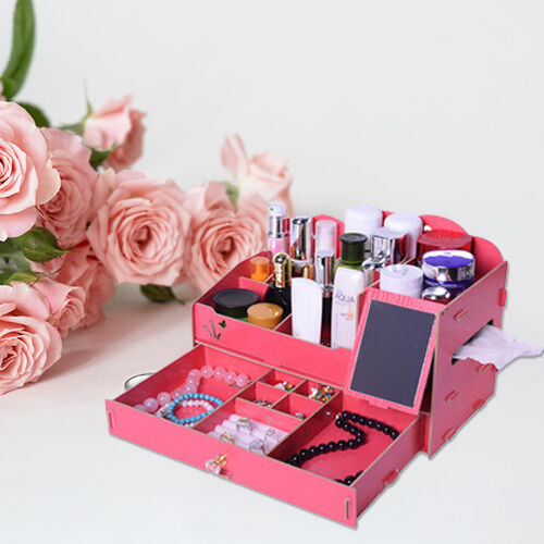 DIY Jewellery and Cosmetic Organiser with Mirror (36x19.5x23cm) - Red