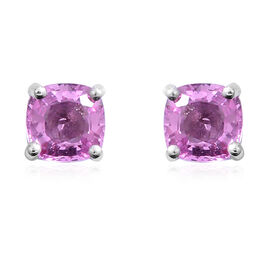 1.20 Carat Very Rare AAA Pink Sapphire Stud Earrings in 9K White Gold