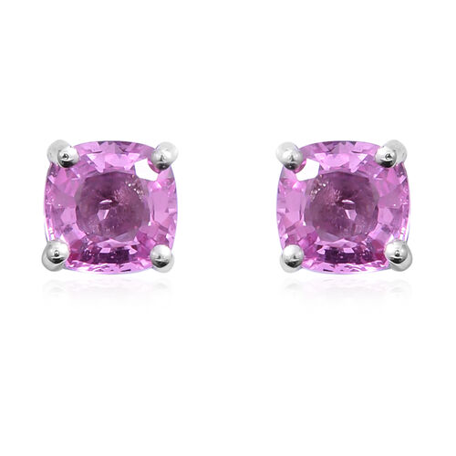 Limited Edition- 9K White Gold Very Rare AAA Pink Sapphire (Cush) Stud Earrings (with Push Back) 1.200 Ct