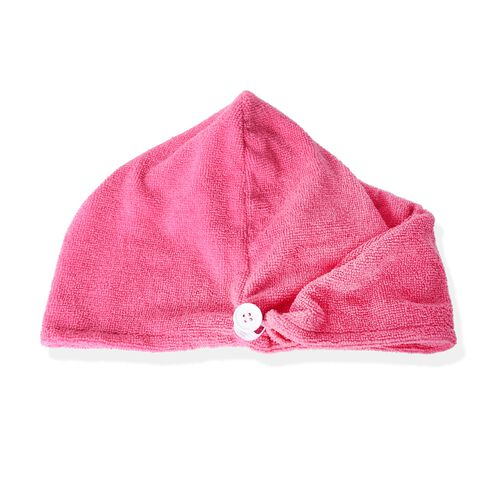 Set of 3- White and Rose Pink Colour Bath Set including 1 Shower Cap (Size 27 Cm), 1 Bath Flower Pad (Size 15 X11 Cm)  and 1 Hair Wrap (Size 62x24 Cm)