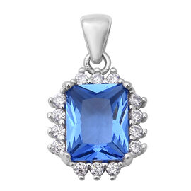 ELANZA Simulated Tanzanite and Simulated Diamond Halo Pendant in Rhodium Plated Sterling Silver