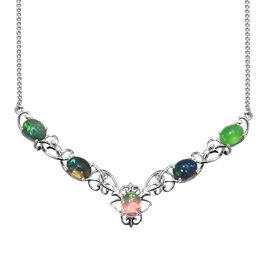 Multi Colour Ethiopian Opal (Ovl) Necklace (Size 18) in Platinum Overlay Sterling Silver 6.00 Ct, Si
